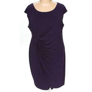 Connected Apparel Plus Faux Wrap Dress 22W Purple